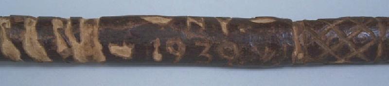 Folk art carved cane, Camp Whitelake NY, 1939 (lot#178)