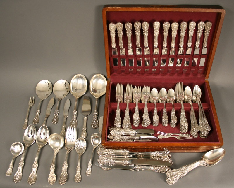 Large Francis I sterling silver service, 163 pcs