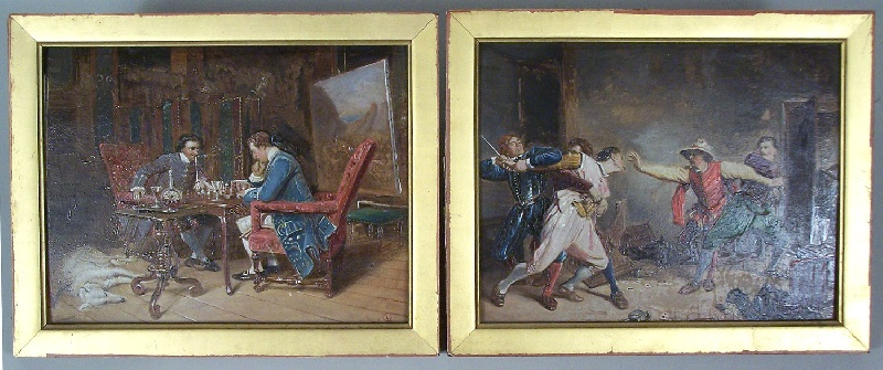 Pair of 19th century French oil paintings, after Jean Louis Ernest Meissonier (lot#200)