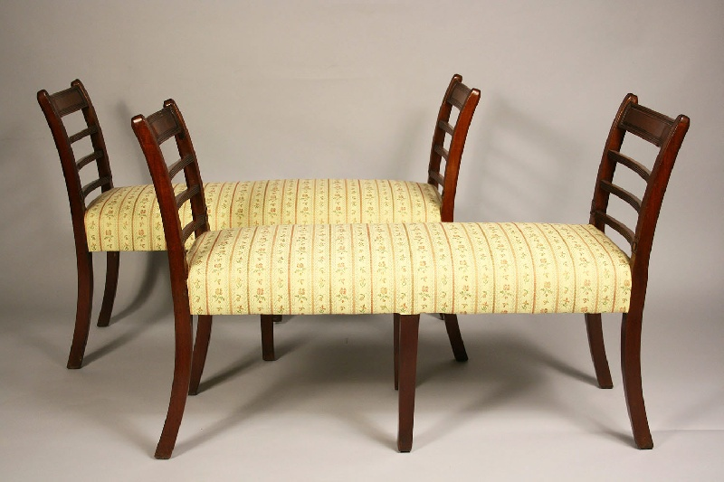 Pair of George III mahogany window benches