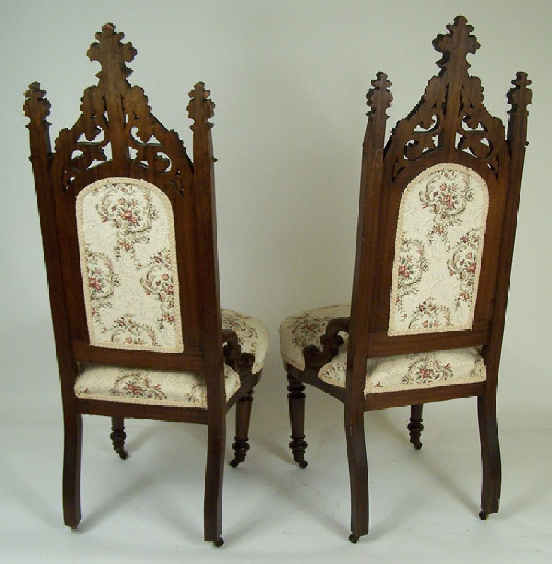 Pair of Gothic hall carved chairs (lot#212)
