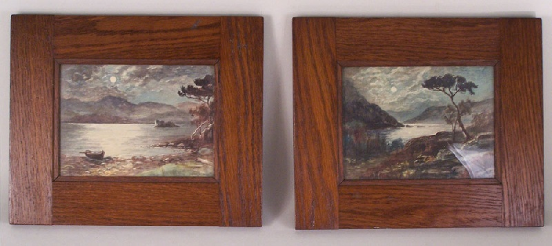 Pair Of Watercolors On Paper In Mission Style Frames