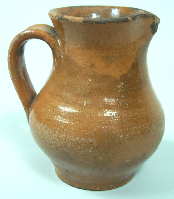 Greene County, TN redware pitcher, attributed to C A Haun or J A Low (lot#37)