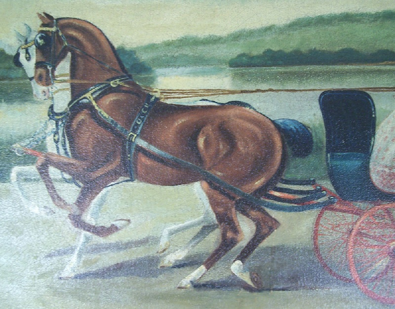 Southern oil of horse team pulling a carriage, dated 1912 (lot#182)