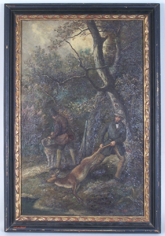 Painting of a hunting scene, signed Shaeffer (lot#257)