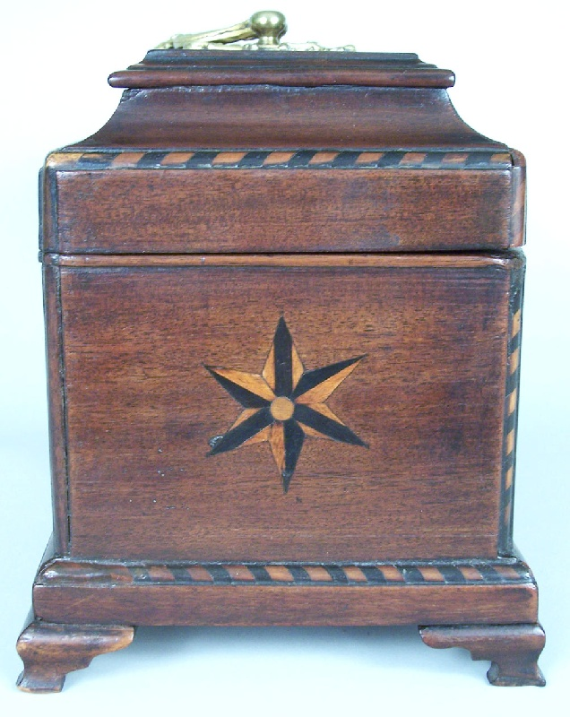 Inlaid tea caddy with compass stars (lot#39)