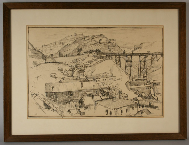 Utah copper mine drawing by Jonas Lie (New York, 1880-1940) – view one