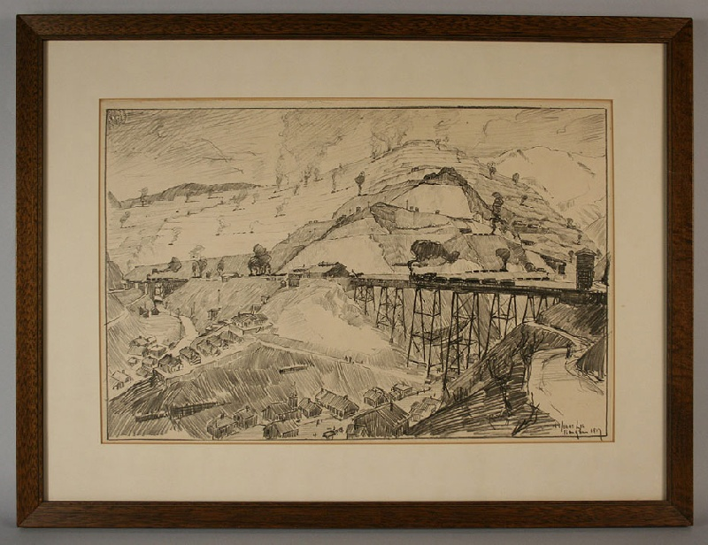 Utah copper mine drawing by Jonas Lie (New York, 1880-1940) – view two