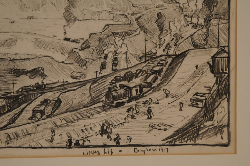 Utah copper mine drawing by Jonas Lie (New York, 1880-1940) – view three