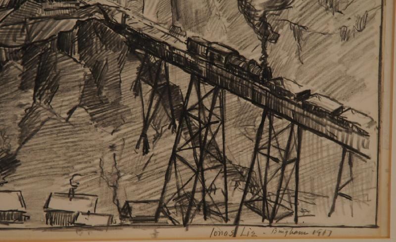 Utah copper mine drawing by Jonas Lie (New York, 1880-1940) – view four