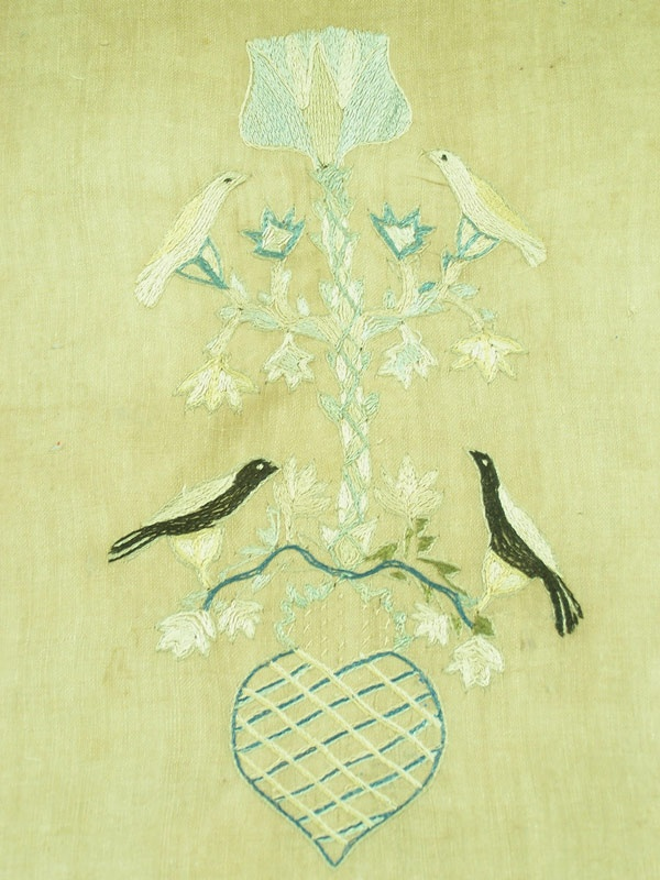 Tennessee textile weaving with birds and floral design, found in Jonesborough, TN (lot#148)