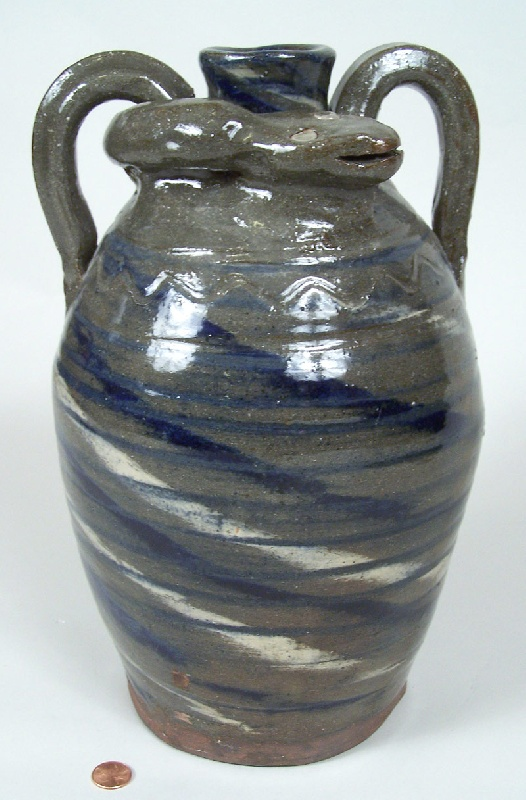 Southern folk pottery large snake jug, B B Craig (lot#231)