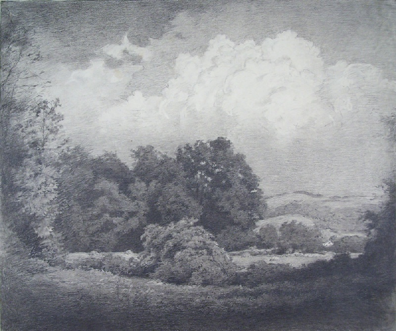 Walworth Stilson landscape pencil and charcoal on paper (lot#244)