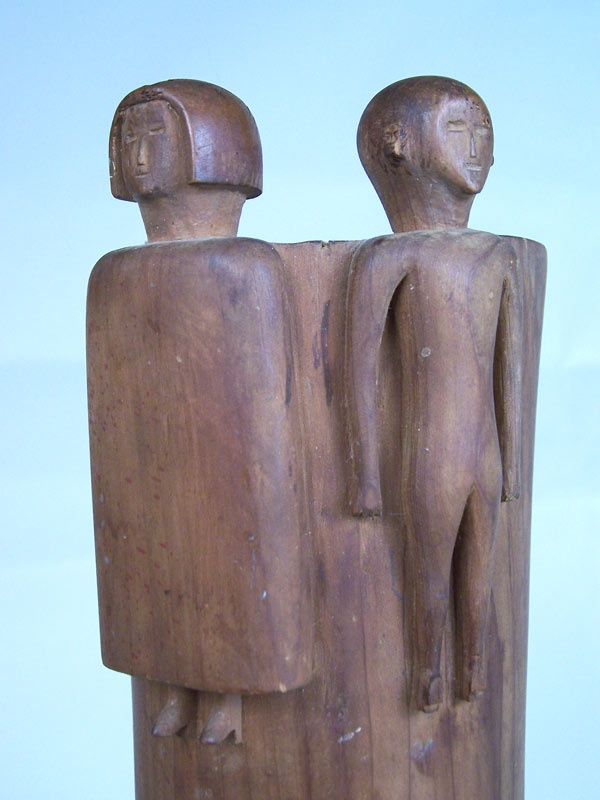 Middle Tennessee folk art carving of man and woman (lot#14)