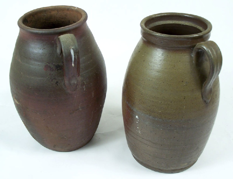 Pair of Middle Tennessee stoneware jars with strap handles (lot#143)