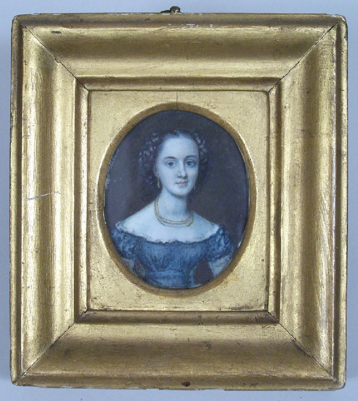 Miniature portrait on ivory of young woman (lot#184)