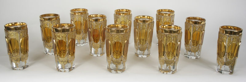 Set of 12 Moser glass tumblers.