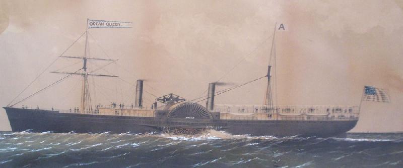 "Ship print of the ""Ocean Queen"", framed (lot#191)"