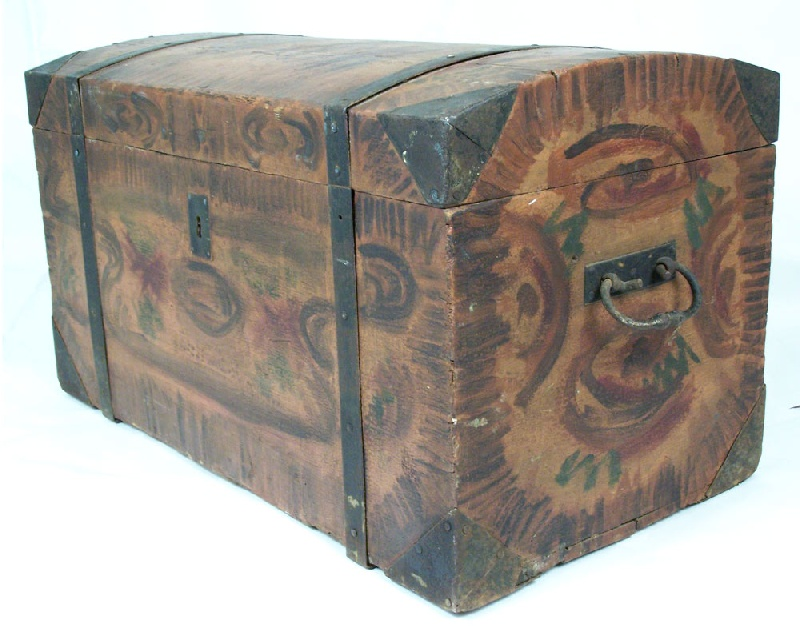 Painted folk art chest, probably Mid Atlantic States (lot#205)
