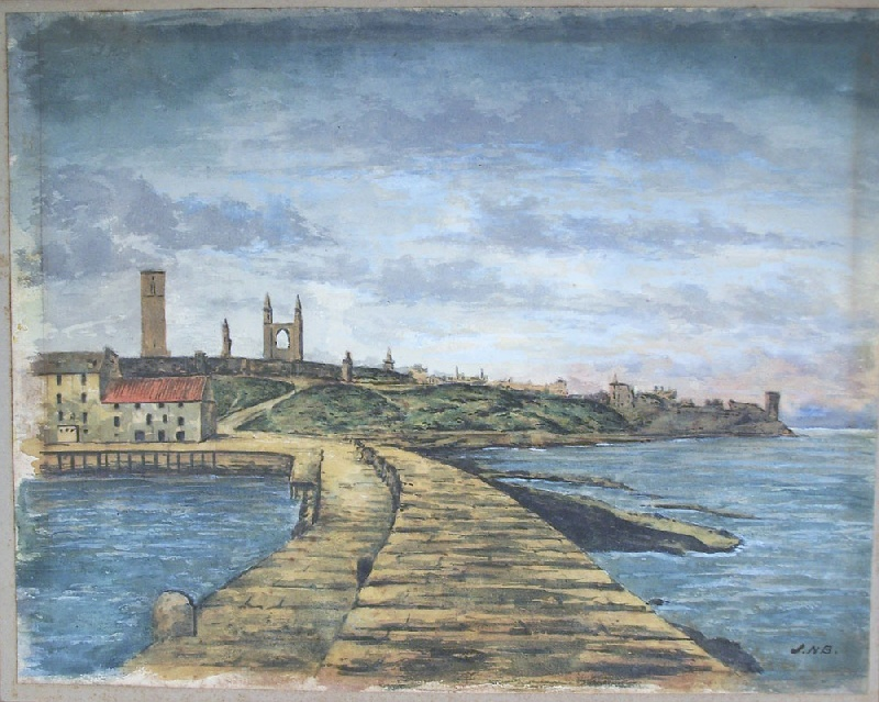 Watercolor of St. Andrews, Scotland, circa 1920