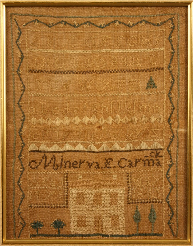 Lot 57: East Tennessee sampler, Minerva Carmack 1845