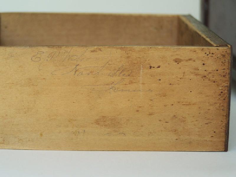 Tennessee two tier folk art sewing box, signed E. P. Wilson, Nashville Tenn