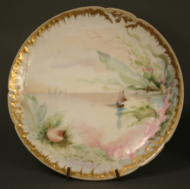 Limoges porcelain plates with marine scenes