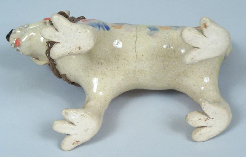 Southern folk pottery lion by Stacey Lambert (lot#237)