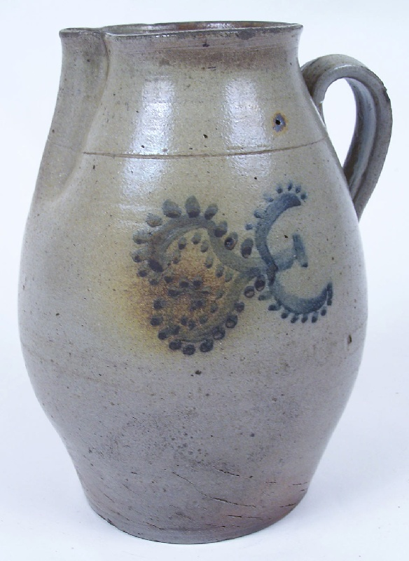 Southern cobalt decorated stoneware pitcher (lot#172)