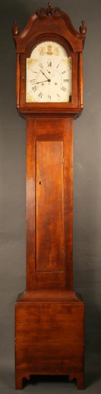 Cherry tall case clock, Cincinnati works, case attrib. Tennessee