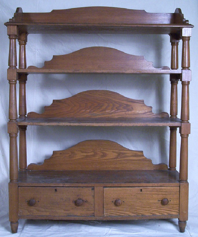 Rare Southern tiered shelf stand with dovetailed drawers