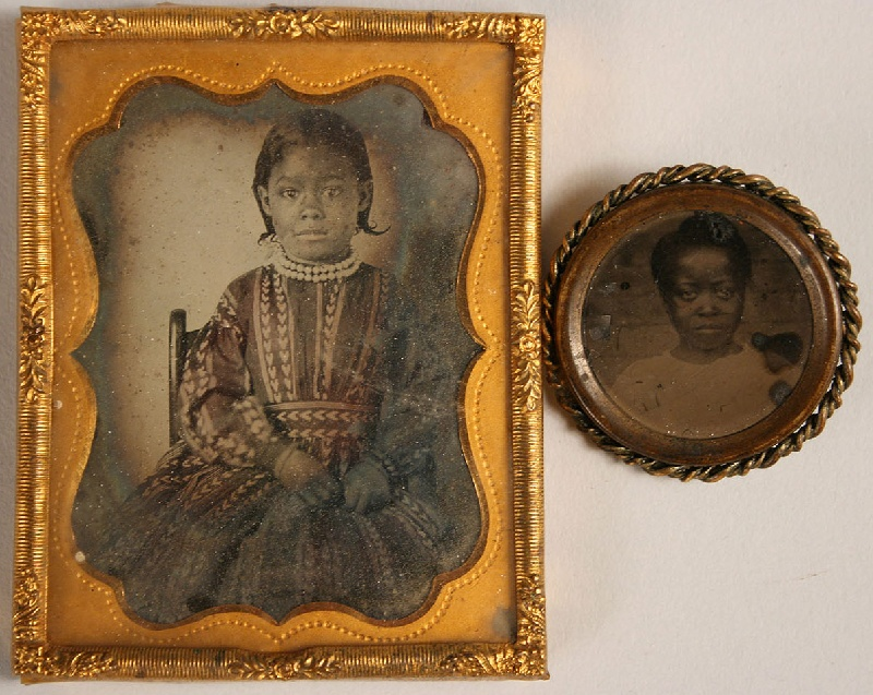 Tintype of a young black woman and ambrotype of a young black girl, 19th century