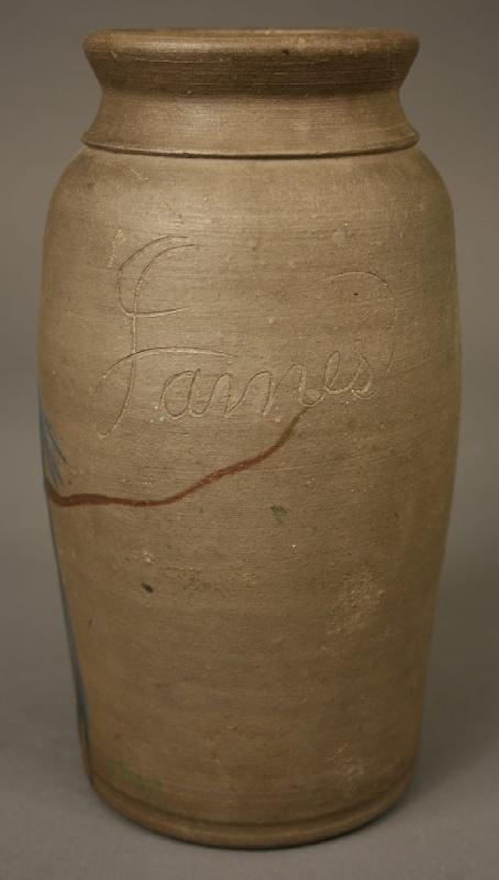 Southwest Virginia stoneware jar, signed James Vestal in script